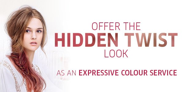 Offer the hidden twist look as an expressive colour service.