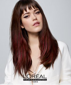 Loreal red brunette model