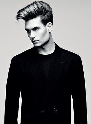 male model with curly quiff hairstyle