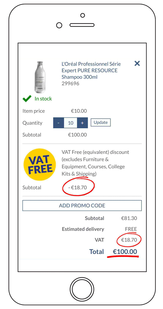 VAT Free Basket (IE) - After Discount