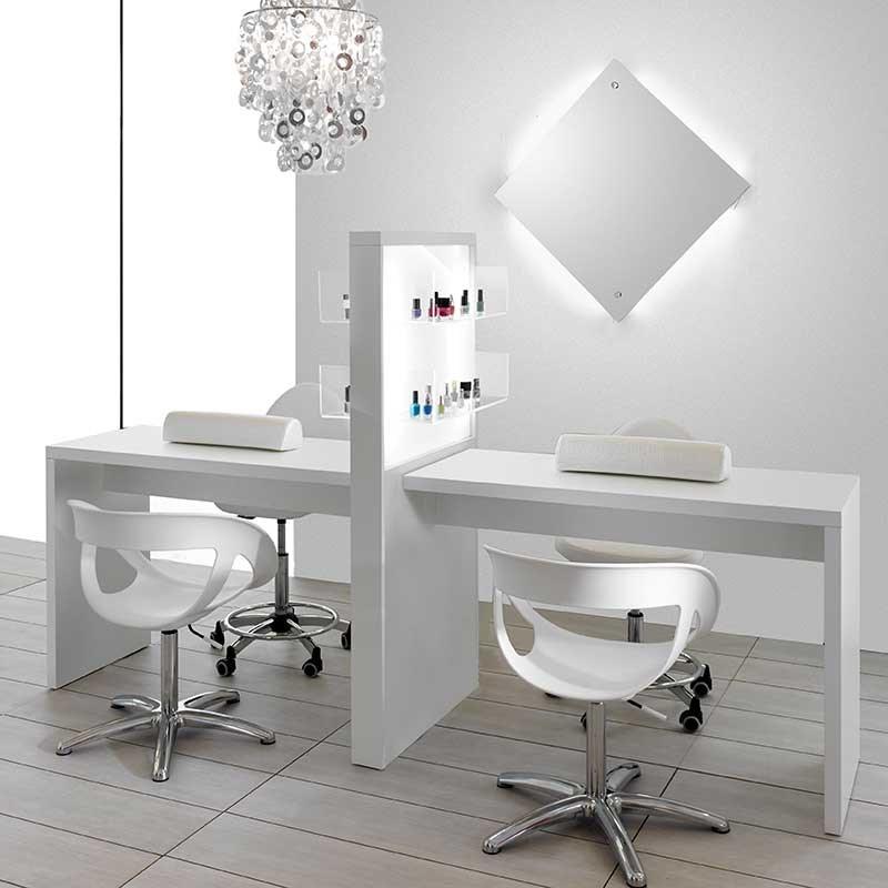 Salon ambience allure double white manicure table with for Manicure table with extractor fan