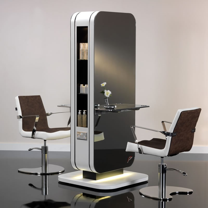 Hair Salon Styling Units: REM Paragon 2 Seat Island Unit (Direct Floor Fixing