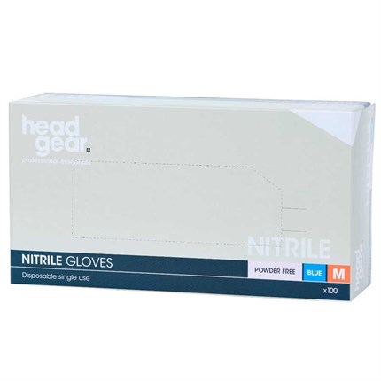 Head-Gear Blue Nitrile Disposable Powder Free Gloves Box 100 - Small