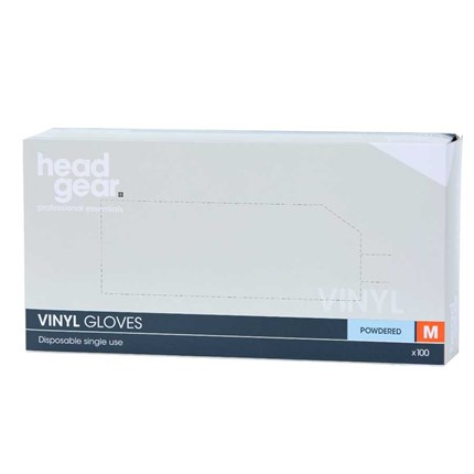 Head-Gear Vinyl Disposable Powdered Gloves Box 100 - Medium