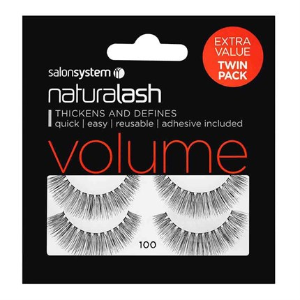 Salon System Naturalash Strip Lashes (Value Twin Pack) - 100 Black (Volume)