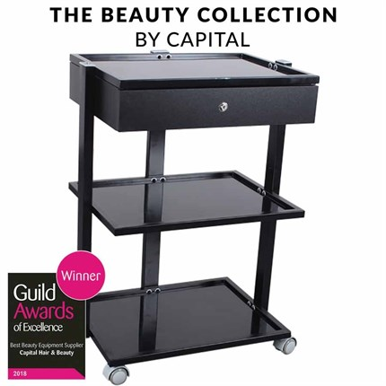 Capital Pro Beauty Trolley with Drawer - Black