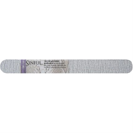 Sinful Zebra 180/180 Washable Straight Grit File - Single