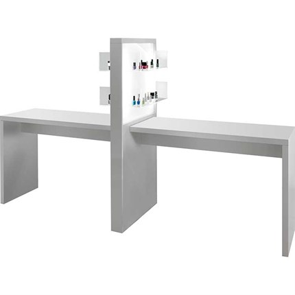 Salon Ambience Allure Double White Manicure Table with Product Display (without extractor fan)