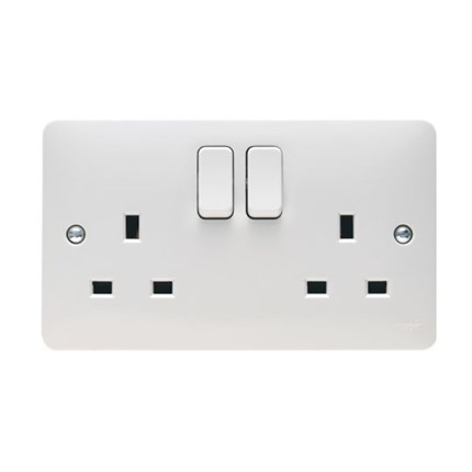 REM Twin Electrical Socket White - Concorde