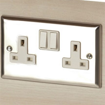 REM Twin Electrical Socket Chrome - Concorde