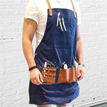 BARBER PRO Barber Apron - Denim Blue