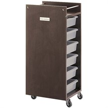 Salon Ambience Glam Trolley Cabinet - Wengé Structure + Transparent Trays