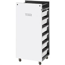 Salon Ambience Glam Trolley Cabinet - White Panels + White Trays
