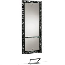 Salon Ambience Fiji Black Mirror - Black Glass Shelf with Footrest