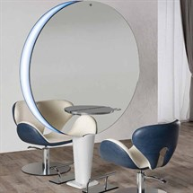 Salon Ambience Planet Styling Unit - Central Mirror Round Aluminium Shelf + Footrest