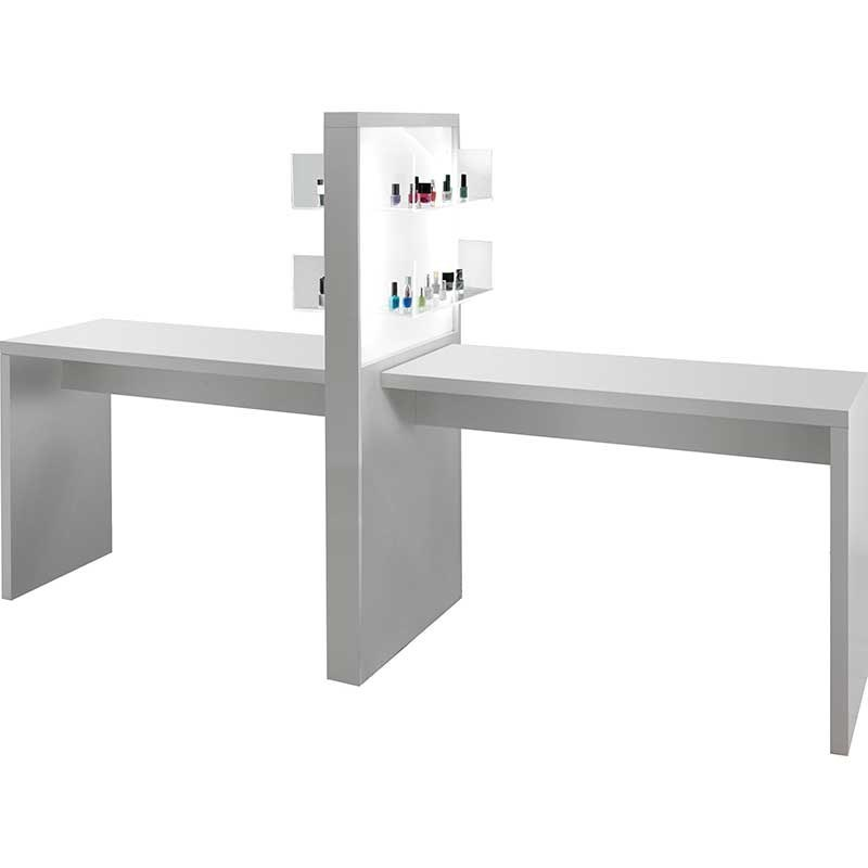 Salon Ambience Allure Double White Manicure Table With